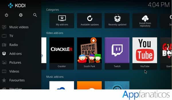 Kodi app de multimedia de entretenimiento